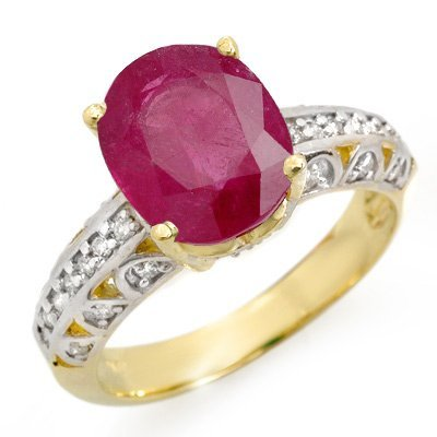 Certified 4.83ct Diamond & Ruby Ladies Ring Yellow Gold