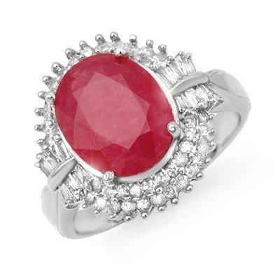 Certified 6.07ctw Ruby & Diamond Ring 14K White Gold