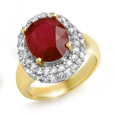Certified 5.00ctw Ruby & Diamond Ring 14K Yellow Gold