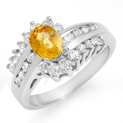 Certified 1.77ctw Yellow Sapphire & Diamond Ring Gold