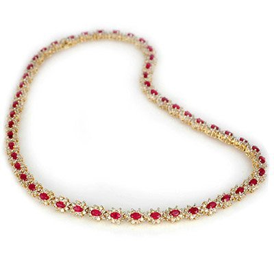 ACA Certified 27.10ctw Ruby & Diamond Necklace 14K Gold