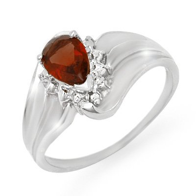 Vintage Style0.76ctw Diamond & Garnet Ring White Gold