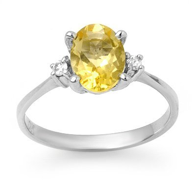 Certified 1.58ctw Citrine & Diamond Ring White Gold