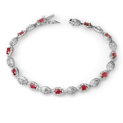 Overstock 4.17ctw Ruby & Diamond Tennis Bracelet Gold