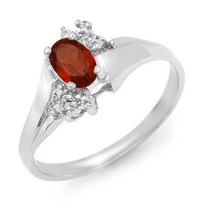 Certified 0.52ctw Diamond & Garnet Ring White Gold