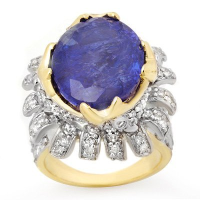 Certified 12.75ctw Diamond & Tanzanite Ring 14K Gold