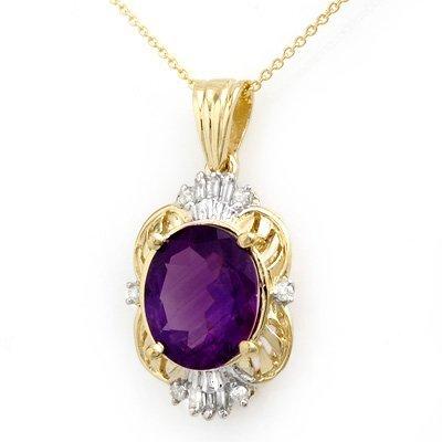 Certified 5.23ct Amethyst & Diamond Pendant Yellow Gold