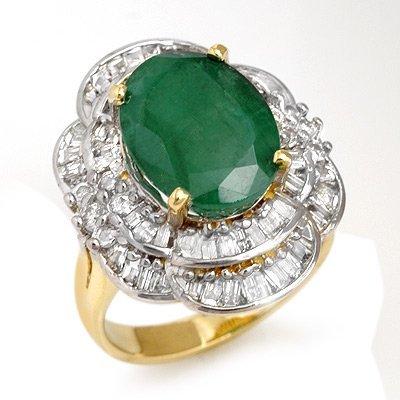 ACA Certified 7.04ctw Emerald & Diamond Ring 14K Gold