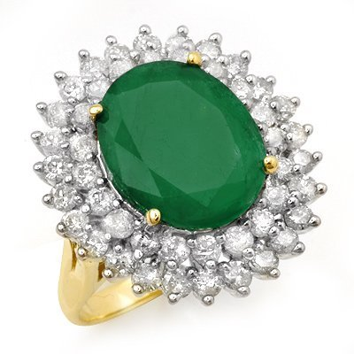 ACA Certified 10.83ctw Emerald & Diamond Ring 14K Gold