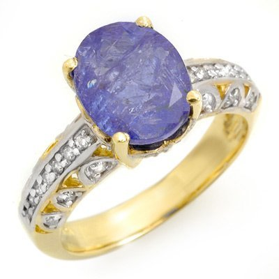 Certified 4.33ctw Diamond & Tanzanite Ring Yellow Gold
