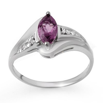 Certified 0.37ctw Diamond & Amethyst Ring White Gold