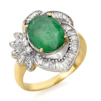 Certified 4.20ct Emerald & Diamond Ring 14K Yellow Gold