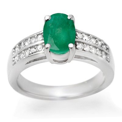 Certified 3.25ctw Emerald & Diamond Ring White Gold