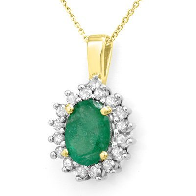 Certified 3.50ctw Diamond & Emerald Necklace 14K Gold