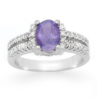 Certified 2.25ctw Tanzanite & Diamond Ring White Gold