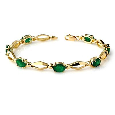 ACA Certified 5.0ct Emerald Tennis Bracelet Yellow Gold