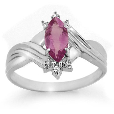 ACA Certified .51ctw Amethyst & Diamond Ring White Gold
