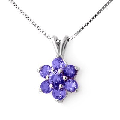 Certified .75ctw Tanzanite Ladies Pendant White Gold