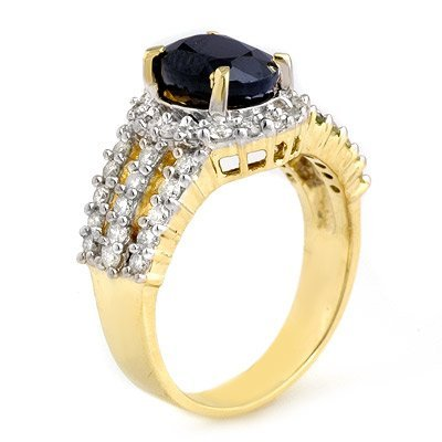 Certified 4.56ctw Sapphire & Diamond Ring 14K Gold