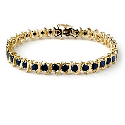 ACA Certified 7.0ct Black Diamond Tennis Bracelet Gold