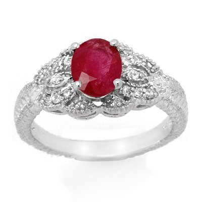Certified 2.10ctw Ruby & Diamond Ring 14K White Gold