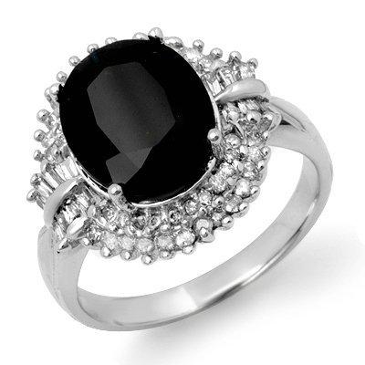 Certified 6.29ctw Sapphire & Diamond Ring White Gold