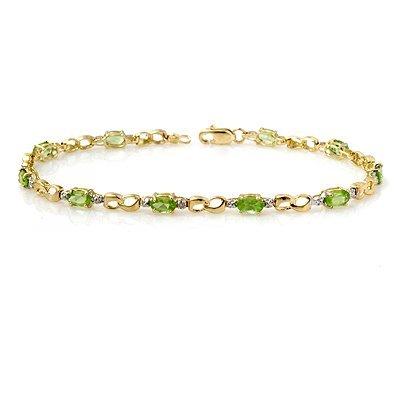 Certified 2.26ctw Peridot & Diamond Bracelet Gold