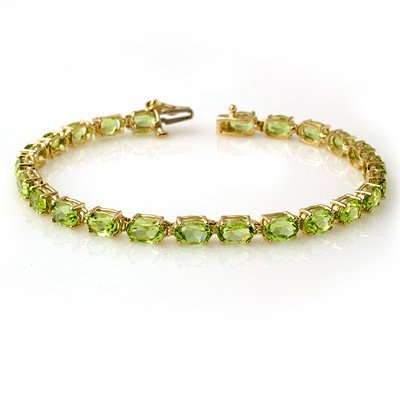 ACA Certified 14ctw Peridot Tennis Bracelet Yellow Gold