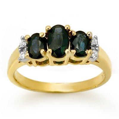 Certified 1.33ctw Sapphire & Diamond Ring Yellow Gold