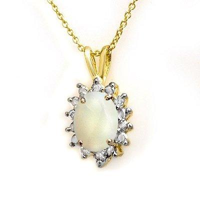 Certified 1.0ctw Opal & Diamond Pendant Yellow Gold