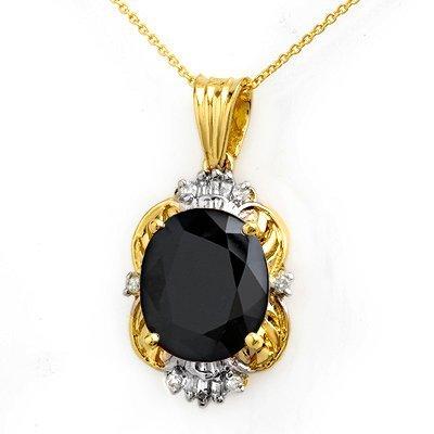Certified 8.59ctw Diamond & Sapphire Pendant 14K Gold