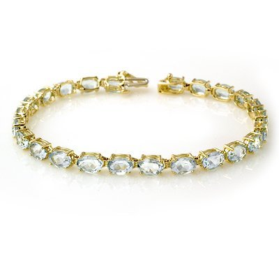 Certified 12.0ct Aquamarine Tennis Bracelet Yellow Gold