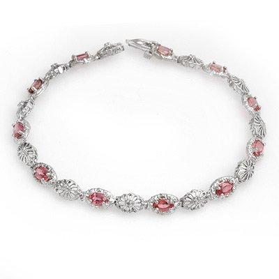 Certified 3.83ctw Red Sapphire & Diamond Bracelet Gold