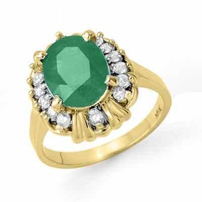 Certified 3.08ctw Emerald & Diamond Ring Yellow Gold