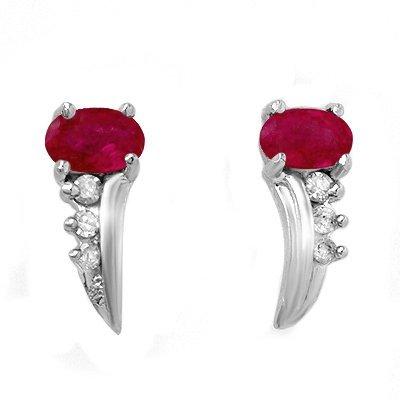 ACA Certified .72ctw Ruby & Diamond Earring White Gold