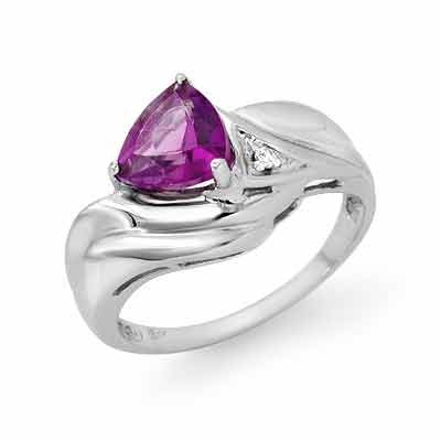 Certified 0.94ctw Diamond & Amethyst Ring White Gold