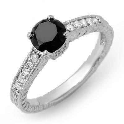 ACA Certified 1.30ct White/Black Diamond Ring 14K Gold