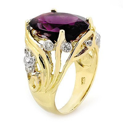 ACA Certified 8.54ctw Amethyst & Diamond Ring 14K Gold
