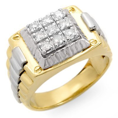 Famous Brand 1/2ctw Diamond Men's Ring in Two Tone Gold