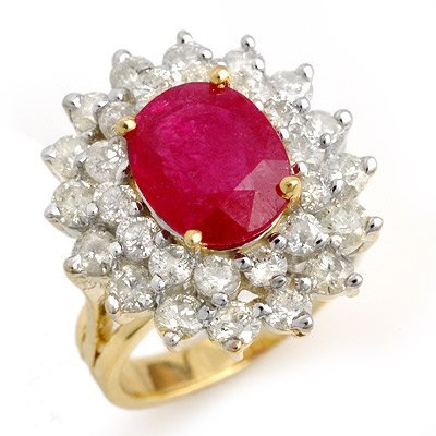 ACA Certified 8.00ctw Ruby & Diamond Ring Yellow Gold
