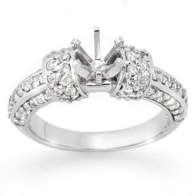 Certified .75ctw Diamond Semi Mount Ring White Gold