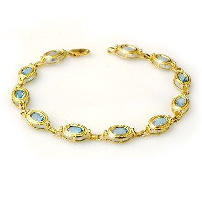 Overstock 6.50ctw Blue Topaz Bracelet 10kt Yellow Gold