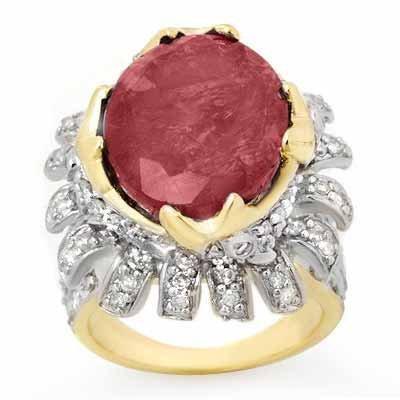 ACA Certified 13.01ctw Diamond & Ruby Ring 14K Y Gold