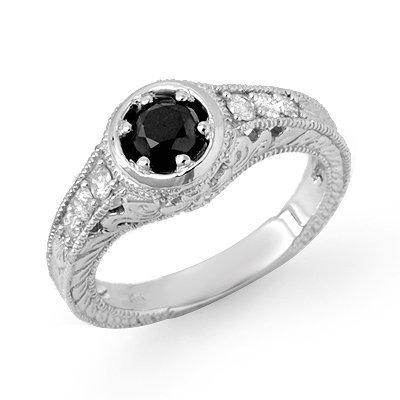 Solitaire 0.80ctw White & Black Diamond Ring 14K Gold