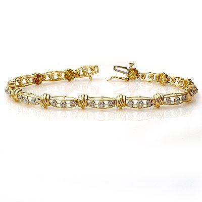Certified 0.65ctw Diamond Ladies Bracelet Yellow Gold