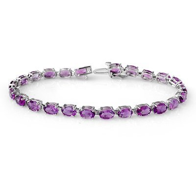Certified 10.10ctw Amethyst Ladies Bracelet White Gold