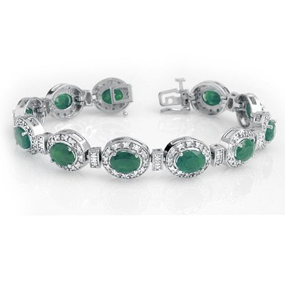 Bracelet 16.0ctw Certified Emerald & Diamond 14K W Gold