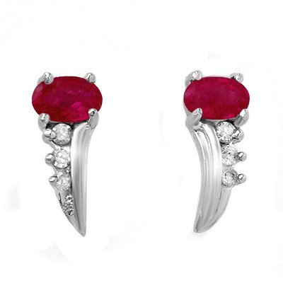 ACA Certified .72ctw Ruby & Diamond Earring White Gold