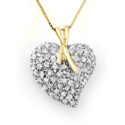 Overstock 1.0ctw Diamond Heart Pendant Yellow Gold