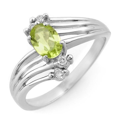 ACA Certified 0.55ctw Peridot & Diamond Ring White Gold